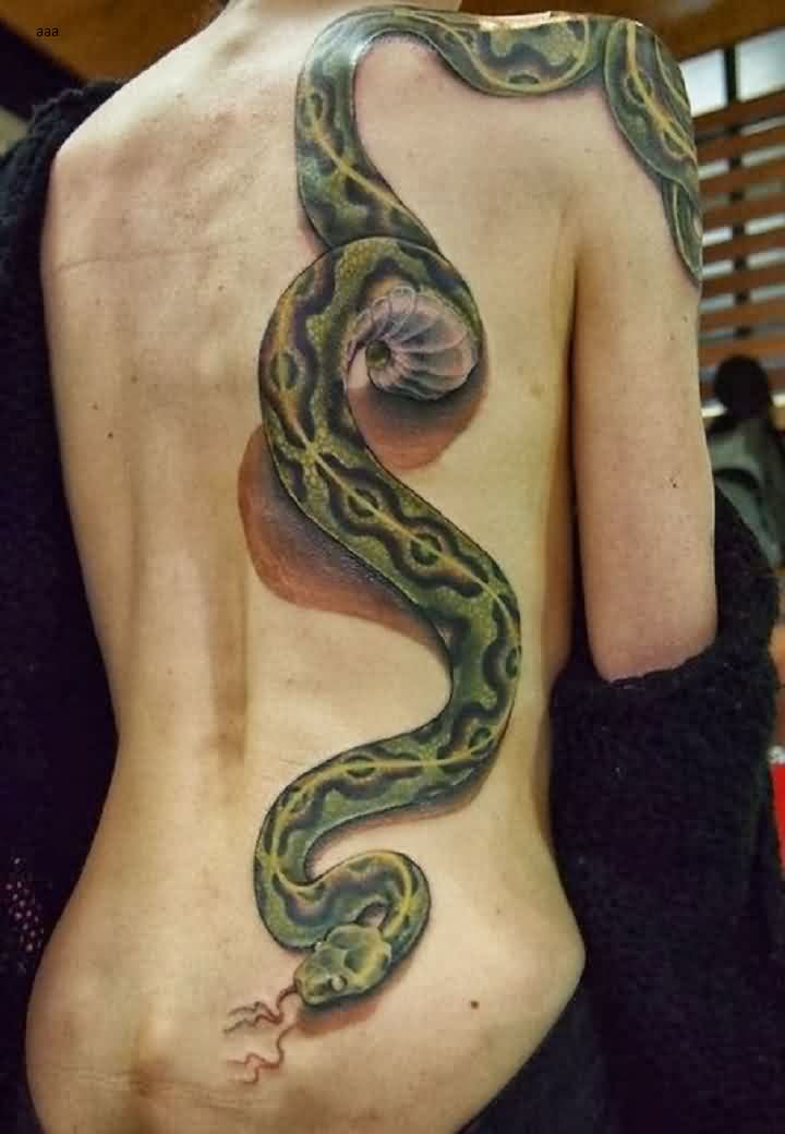 Long 3D Python Tattoo On Side Back
