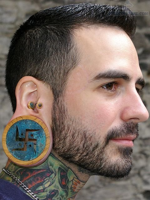 Long Holy Ear Stretching And Neck Tattoo For Men
