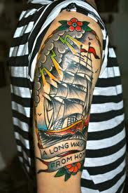 Long Way From Home Ship Tattoos On Sleeve