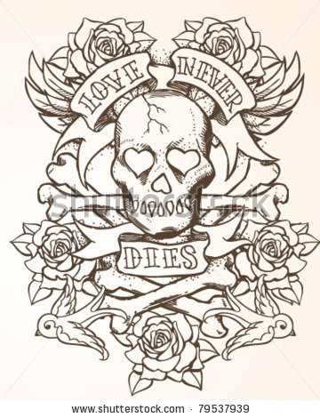 Love Never Dies Skull Roses And Bird Tattoo Designs