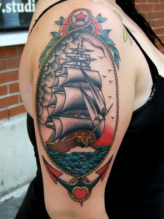 Lovely Anchor Ship Tattoo On Upper Arm For Women