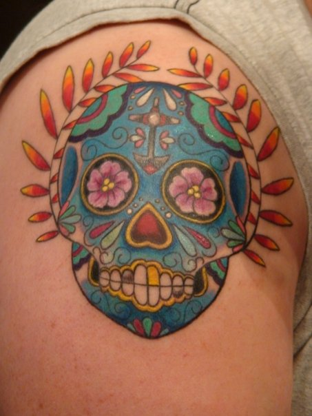 Lovely Blue Sugar Skull Tattoo On Shoulder