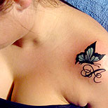 Lovely Butterfly Shoulder Tattoo For Girls