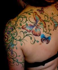 Lovely Colored Back Shoulder Tattoos