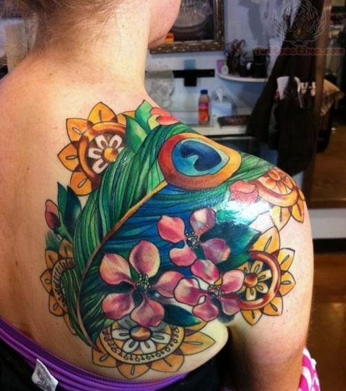 Lovely Colorful Back Shoulder Tattoos For Girls