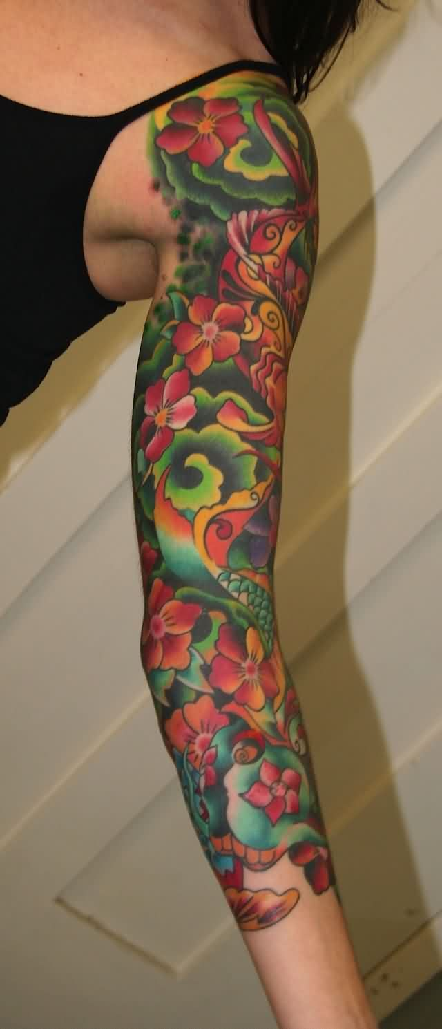 Lovely Colorful Flowers Sleeve Tattoos