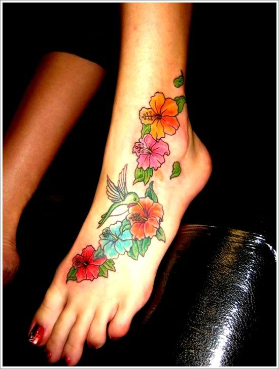 Lovely Colorful Orchid Tattoos On Foot For Girls And Women