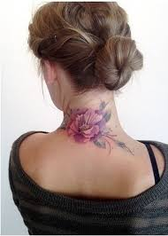 Lovely Flower Back Neck Tattoo For Girls And Women