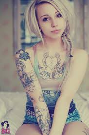 Lovely Girl With Left Sleeve Tattoos