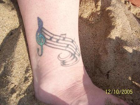 Lovely Music Notes Tattoos On Ankle