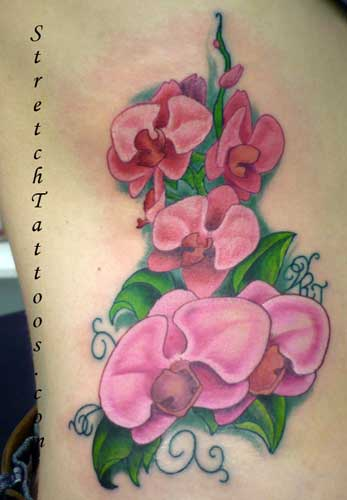 Lovely Pink Orchid Tattoos On Side