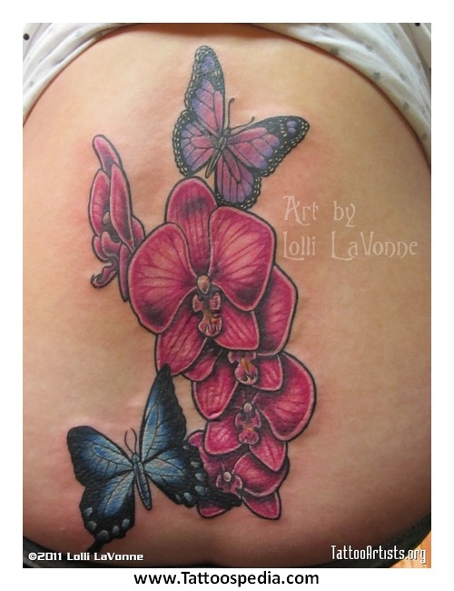 Lovely Pink Orchid With Butterfly Tattoos On Down Back