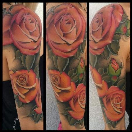 Lovely Rose Vine Tattoo On Half Sleeve