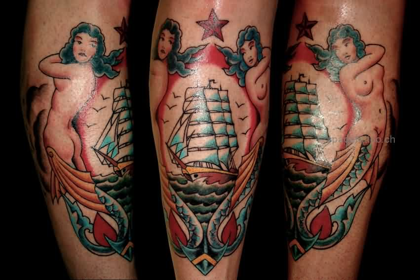 Lovely Sailing Ship Anchor Tattoos