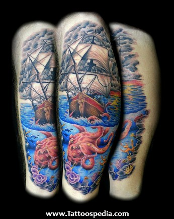 Lovely Ship And Octopus In Sea Tattoos