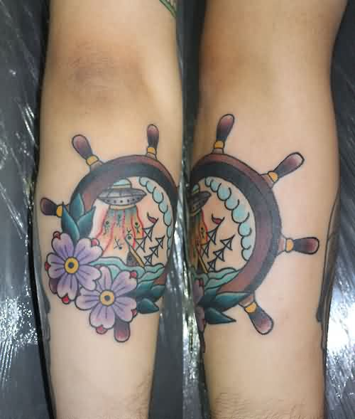 Lovely Ship Wheel And Flowers Tattoos