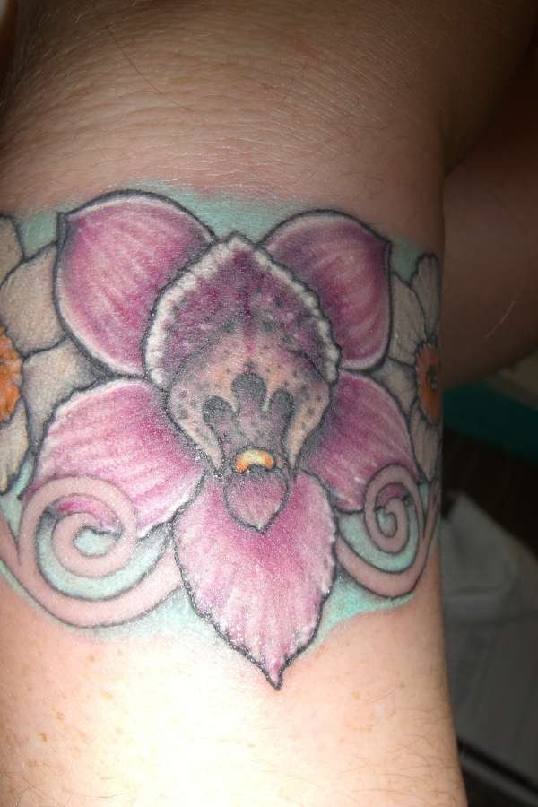Lovely Tattoo Of Orchid