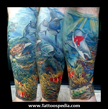 Lovely Underwater Sleeve Tattoos