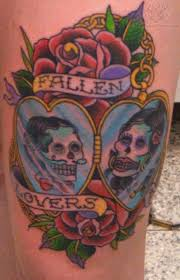 Lovers Skeleton And Roses Tattoos