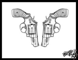2 Pistol Tattoo Design Photo