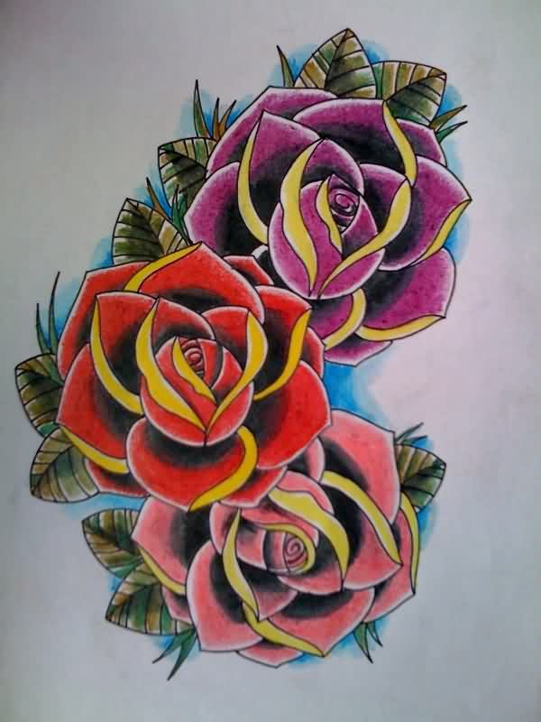 3 Colorful Roses Tattoo Design