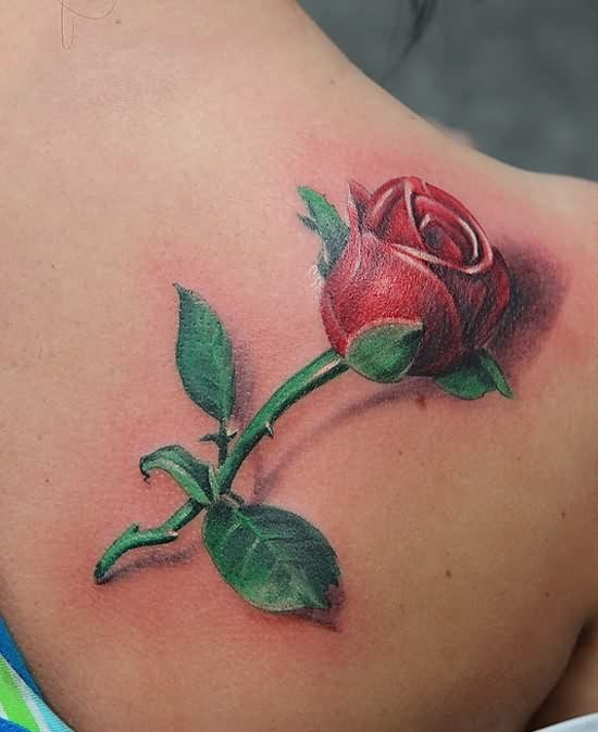 3D Red Rose Tattoo Behind The Shoulder