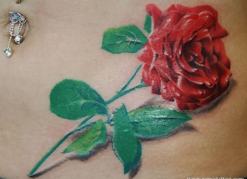 3D Red Rose Tattoo Specially For Girls