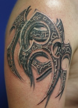 3D Stone Tribal Symbol Tattoo Style For Men