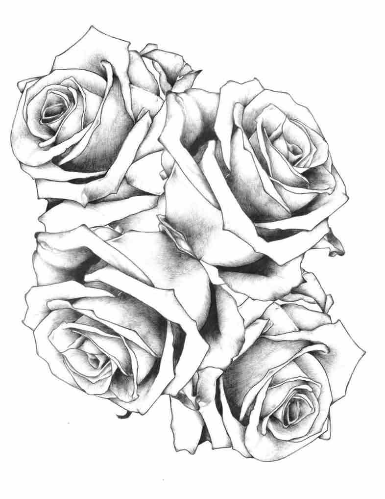 4 Grey Roses Tattoo Designs