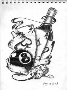 8 Ball Dice Pair And Cards Tattoo Sketch