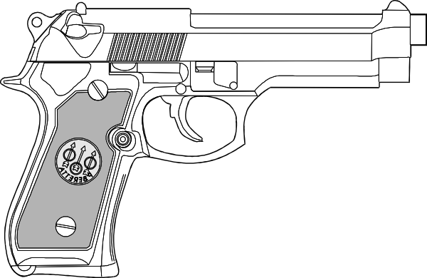 9mm Black Outline Pistol Tattoo Stencil