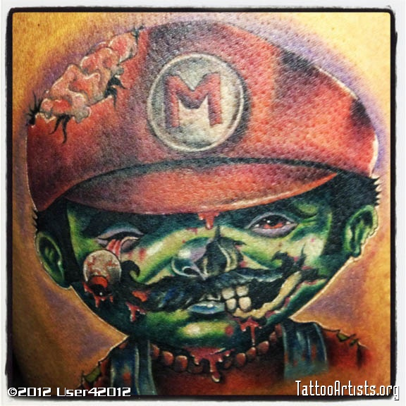 Wicked Zombie Mario Tattoo