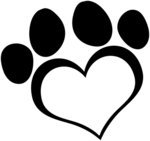 A Black And White Heart Shaped Paw Print Tattoo Sample