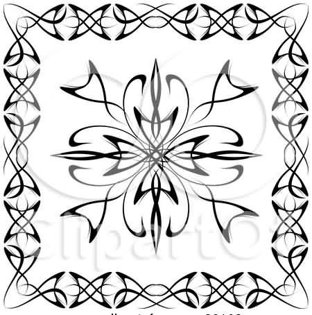A Black And White Tattoo Design Bordered With Other Designs
