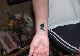 A Cute Asian Symbol Tattoo On Inner Wrist