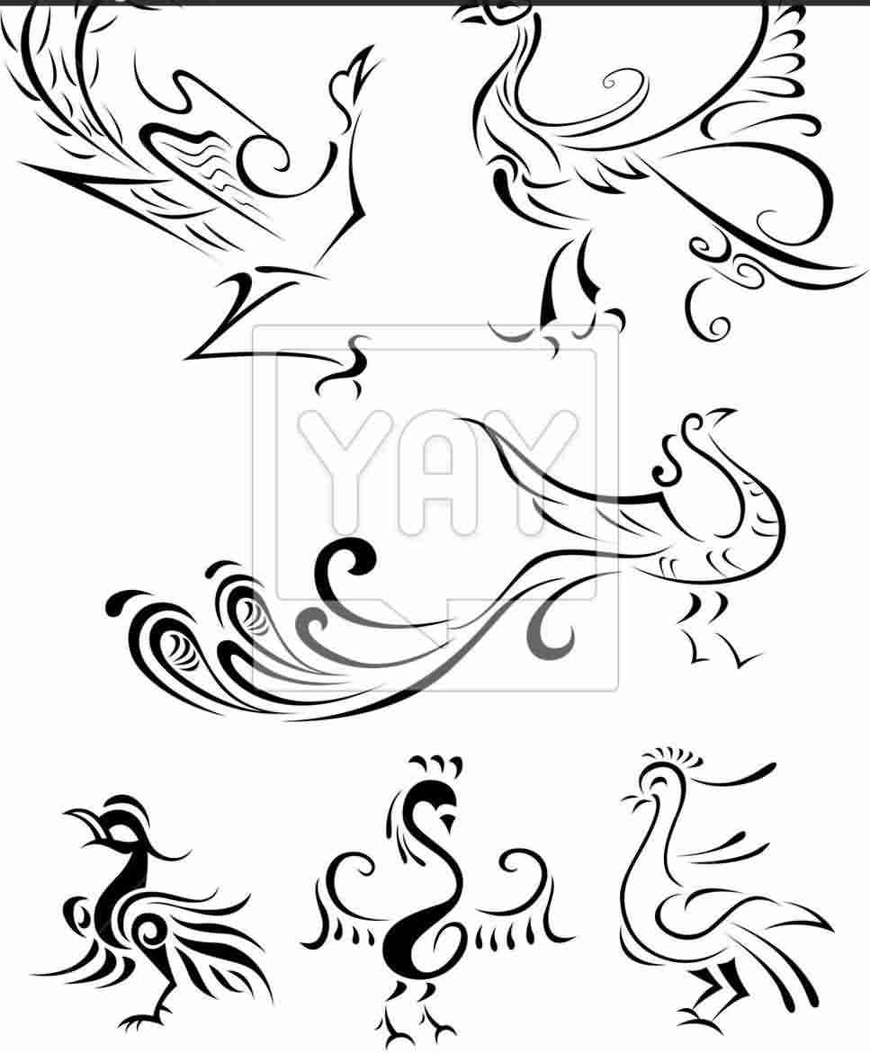 Abstract Bird Phoenix Tattoo Designs