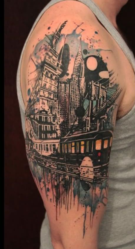 Abstract Buildings Train Tattoos On Arm