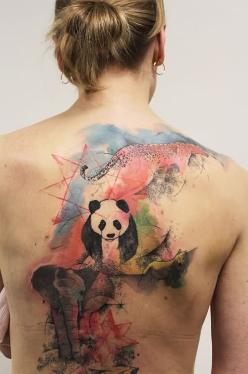 Abstract Wild Animals Tattoos On The Back
