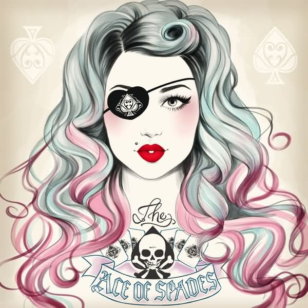 Ace Of Spades Pin Up Girl Tattoo Flash