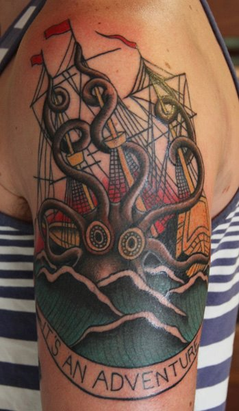 Adventure Nautical Tattoos On Upper Arm