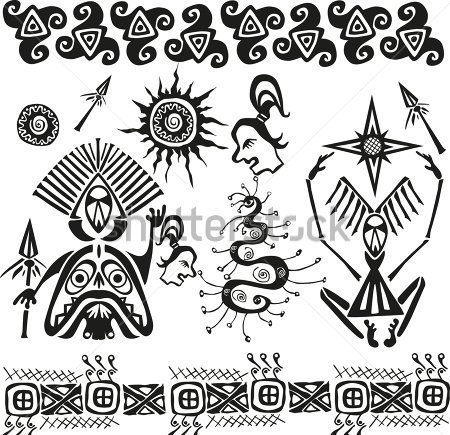 African Pagan Figures And Symbols Tattoo Designs