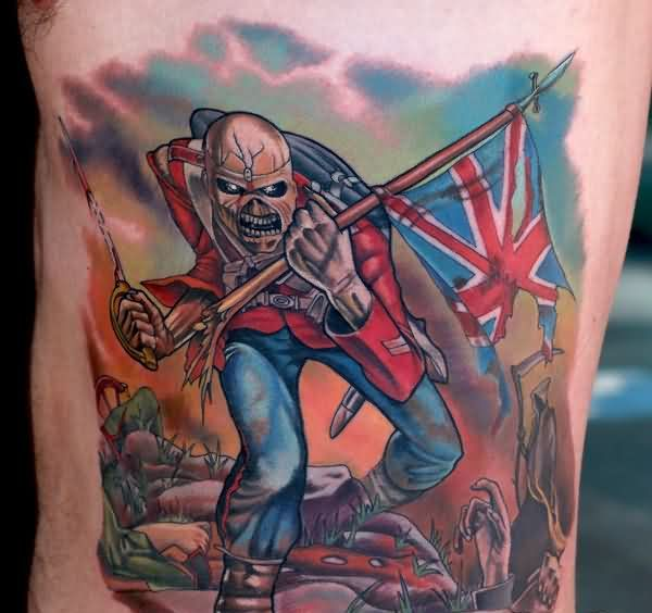 Aggressive Eddie Trooper Patriotic Tattoo On Ribs