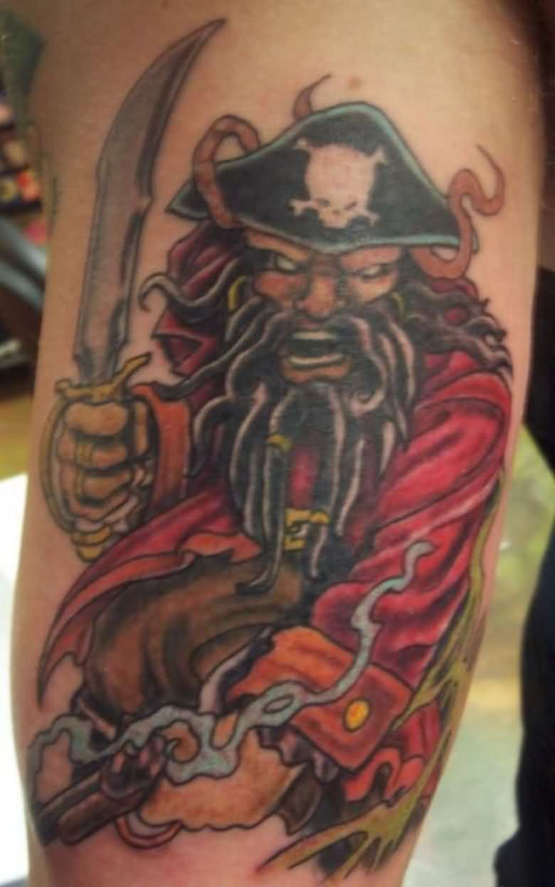 Aggressive Pirate Tattoo