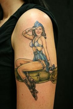 Air Force Pin Up Girl Salute Tattoo On Arm