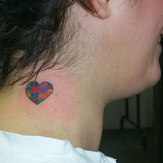 All Color Heart Tattoo On Neck