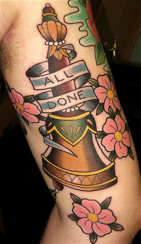 All Done Bell And Pink Blossoms Tattoos On Arm