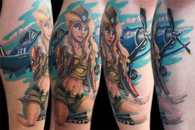 Alluring Army Pin Up Girl Tattoos
