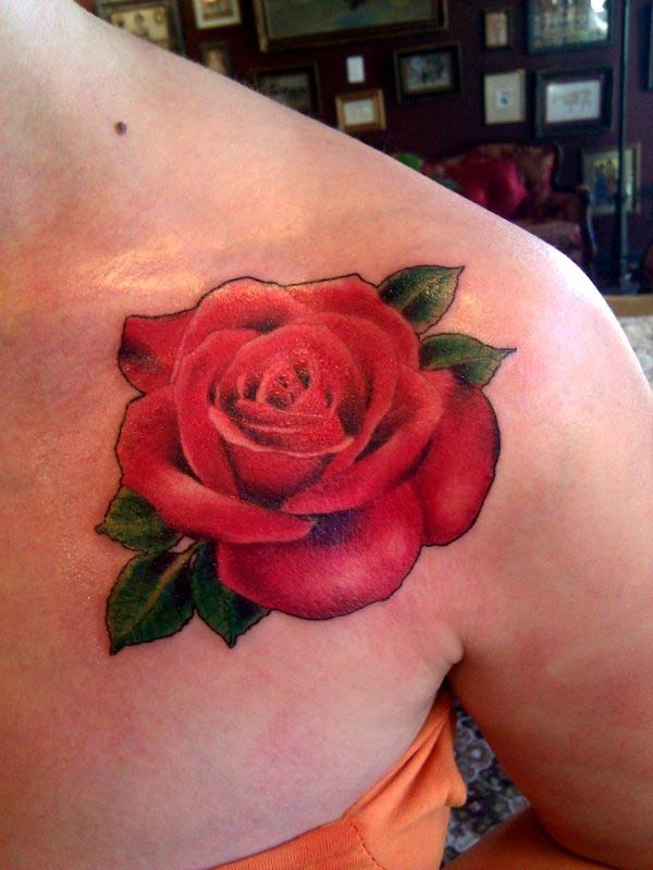 Alluring Red Rose Tattoo For Girls