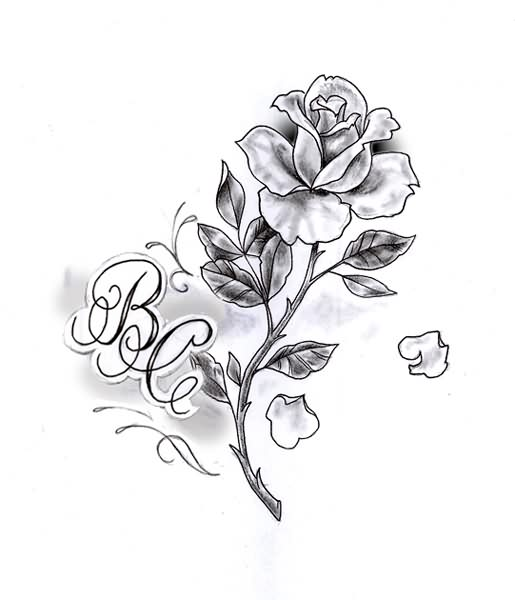 Alphabets And Grey Rose Tattoo Design