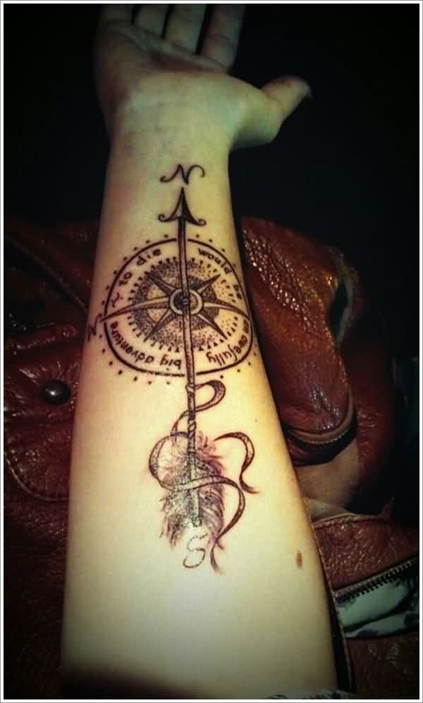 Amazing Arrow Nautical Compass Tattoo On Wrist